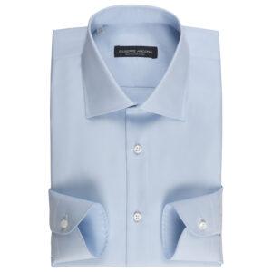 Camicia celeste pallido in cotone Super Dobby doppio ritorto 120/2