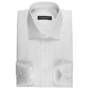 Camicia su misura bianca in cotone Super Dobby