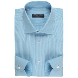 Camicia turchese a righe in cotone Popeline Extrafine Super 140/2