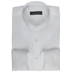 Camicia serafina bianca in cotone e lino extra-fine 120/2