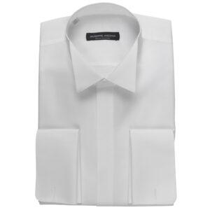 Camicia marcella bianca unita in cotone operato doppio ritorto 90/2