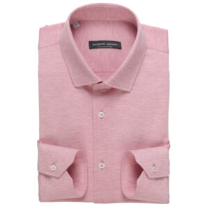 Camicia Polo Rosa in cotone jersey a nido d'ape