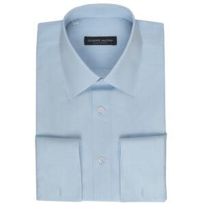 Camicia celeste pallido in cotone popeline extra-fine 140/2
